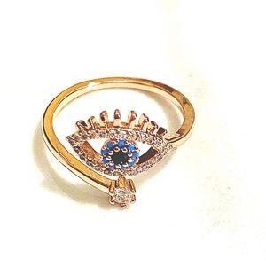 Restocked🎉Elegant Evil Eye Hamsa Rose Gold Ring